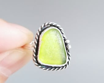 Natural Sea Glass Ring-Ring Size 7.5 Dainty Lime Green Sea Glass Ring-Simple Green Beach Jewelry-Beach Glass Jewelry-Simple Ocean Jewelry