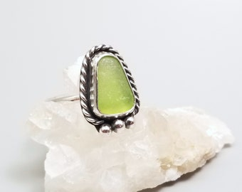 Natural Sea Glass Ring-Size 6.75-Dainty Lime Green Sea Glass Ring-Small Green Beach Jewelry-Beach Glass Jewelry-Simple Ocean Jewelry