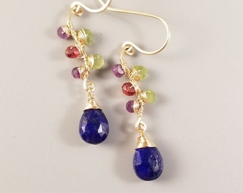 Gold Lapiz Lazuli Earrings-Wire Wrapped Multi Gemstone Earrings