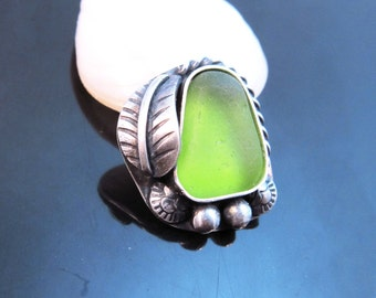 Lime Green Sea Glass Ring-Ring Size 8-Dainty Natural Sea Glass Ring-Small Green Beach Jewelry-Beach Glass Jewelry-Simple Ocean Jewelry