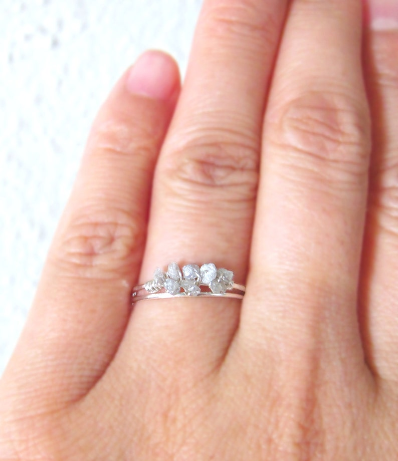 White Raw Diamond Ring-Sterling Silver Uncut Diamond Ring-Rough Diamond Engagement Ring-April Birthstone Gift-April Birthstone Stacking Ring
