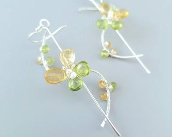 Wire Wrapped Gemstone Flower Earrings-Birthstone Earrings-Spring Earrings-Sterling Silver Butterfly Earrings-Citrine Peridot Flower Earrings
