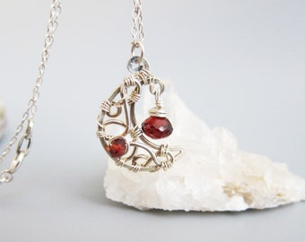Sterling Silver Wire Wrapped Garnet Moon Necklace-Red Garnet Moon Jewelry-January Birthstone Necklace-Red Gemstone Necklace-Moon Gift