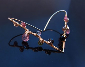 Wire Wrapped Tourmaline Earrings-Pink Tourmaline Jewelry-Gemstone Flower Jewelry-Colorful Gemstone Earrings-Colorful Gemstone Jewelry