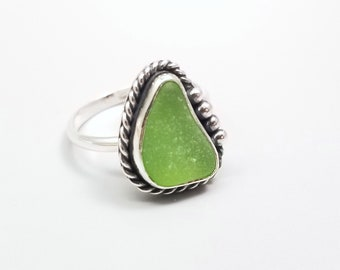 Sea Glass Ring-Size 7.25-Small Green Beach Jewelry-Lime Green Beach Glass Jewelry-Simple Ocean Jewelry-Dainty Natural Sea Glass Ring