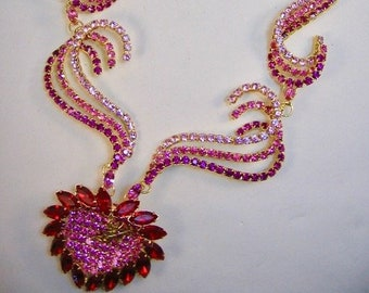 Queen of Hearts Cupid Rhinestone Statement Necklace