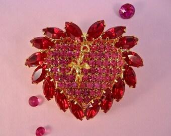 Queen Of Hearts Crystal Brooch