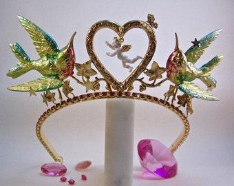 Cupid Hummingbird Enameled Tiara