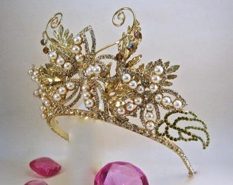 Pearl and Crystal Gilded Lily Tiara