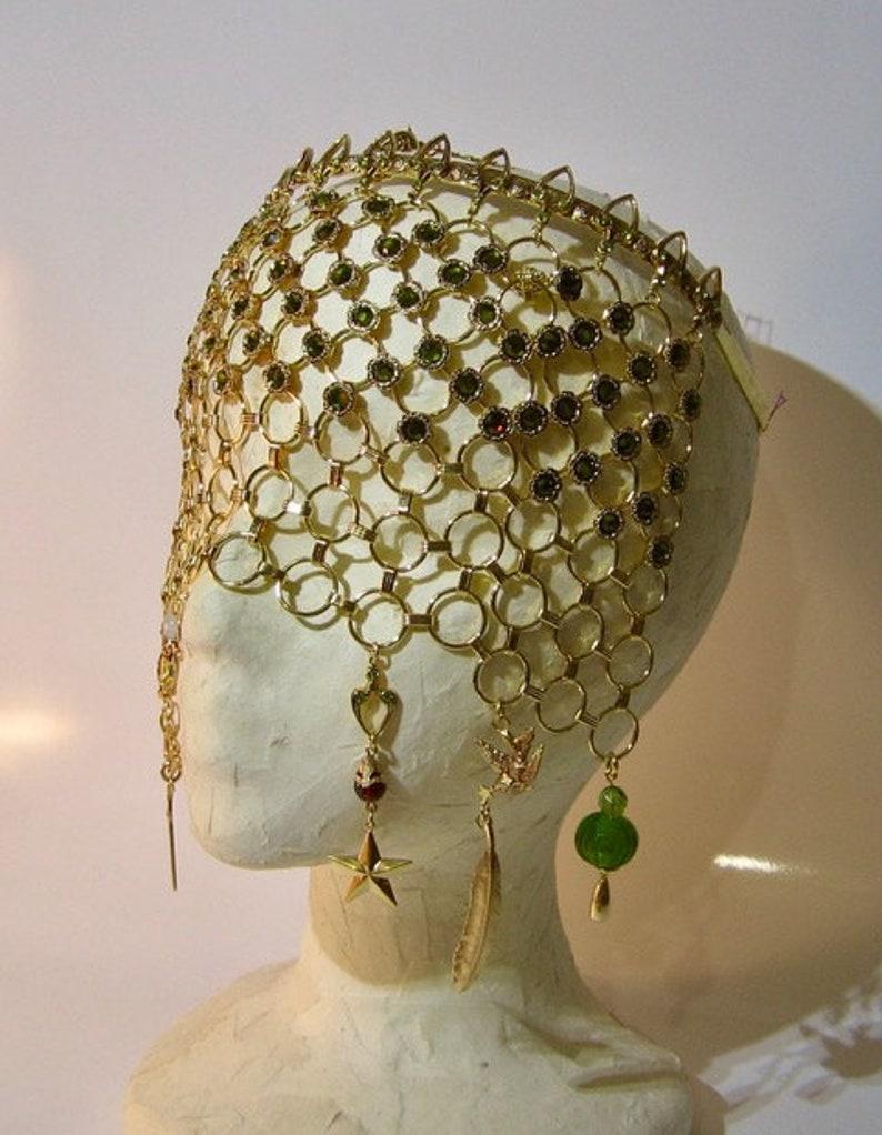 Gold Gothic Veil Carnivale Mask image 0