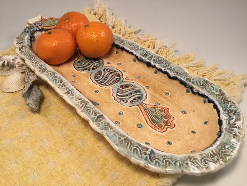 Pottery tray/tray/handmade tray/mermaid tray/mermaid image 0