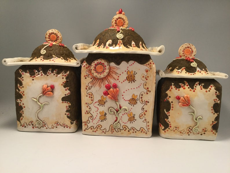 Kitchen canisters/canister/bumble bees/bumble bee art/bees/bee image 0