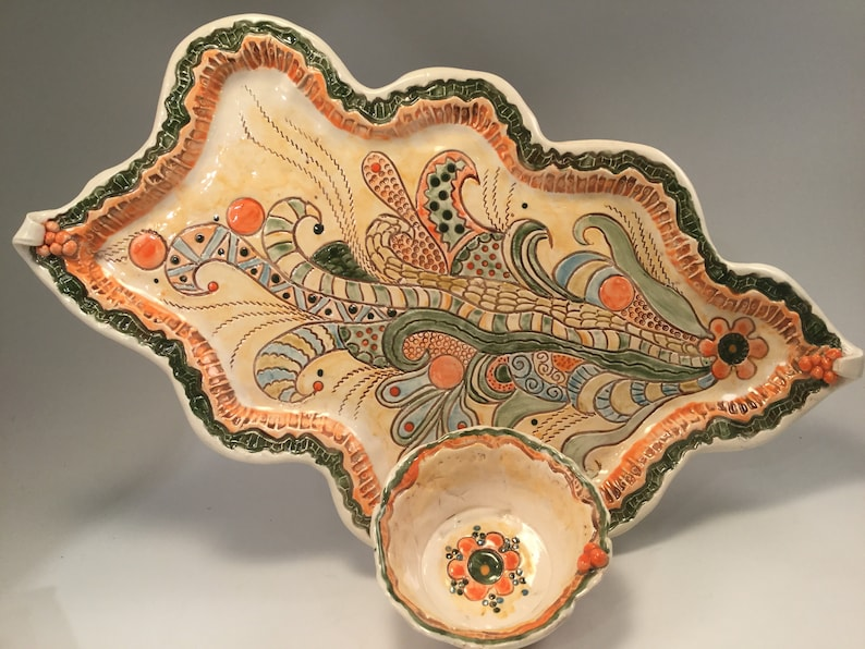 Pottery tray/serving tray/chip and dip set/chip and image 0