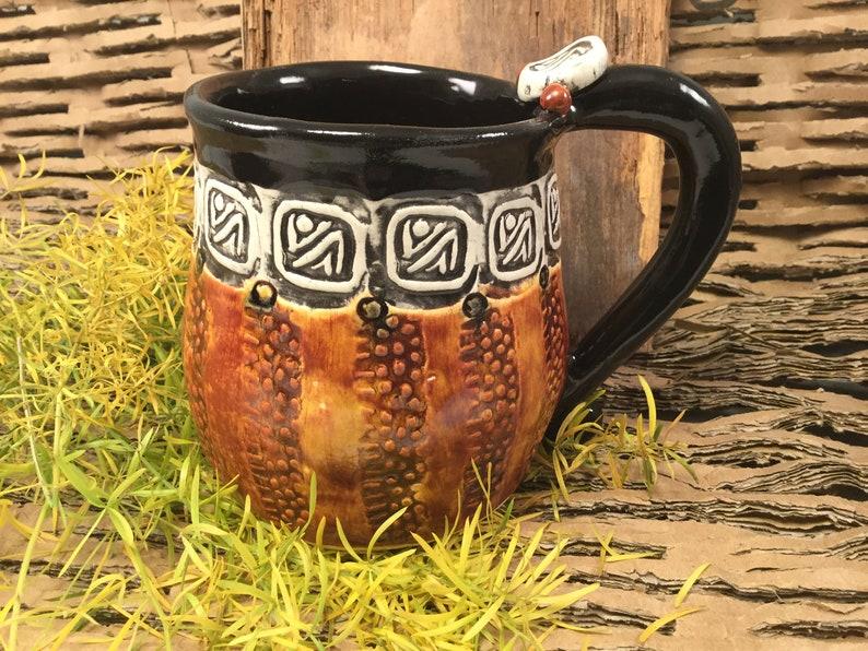 Pottery mug/black and white mug/mans mug/large coffee image 0