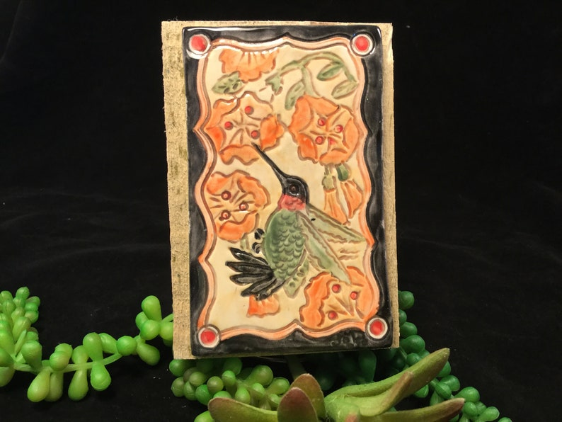 Humming birds/clay tile/tile wall decor/decorative image 0