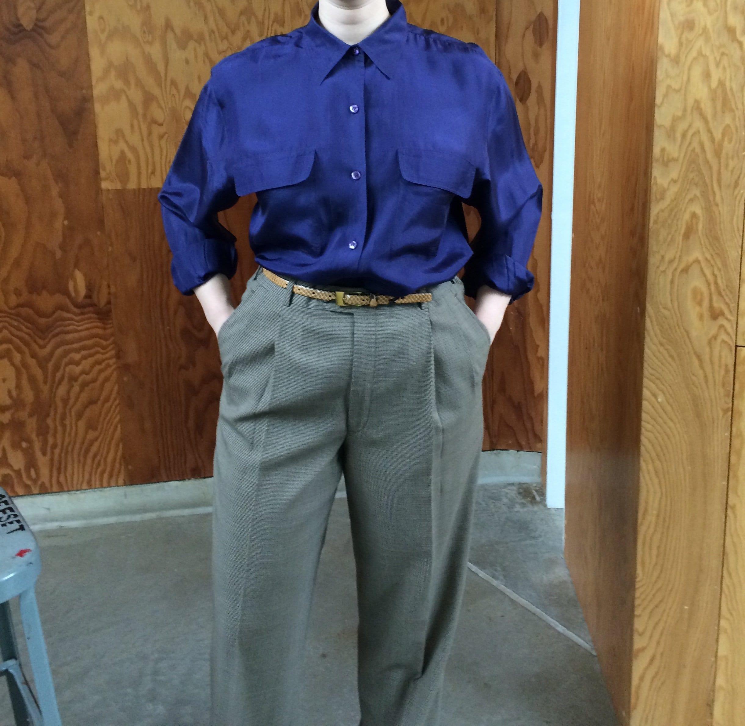 Vintage 90s Patch Pocket Shirt Oversized Blouse Boxy Etsy