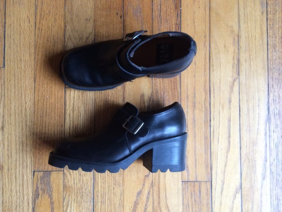 1990's 7 buckle 9 Made Italy black size heel thick vintage in shoe leather shoe West womens An4pdx