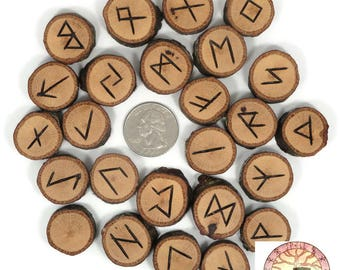 Willow Oak wood Rune Set Elder Futhark with Manual & Pouch Hand Carved (B)