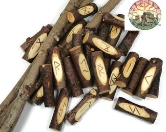 Cedar stave Rune Set  Elder Futhark with Manual & Pouch Hand Carved (Set A)