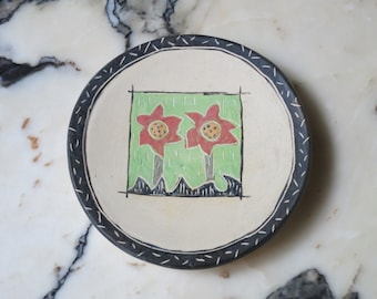 Small Ceramic Dish PLATE - Two Flowers
