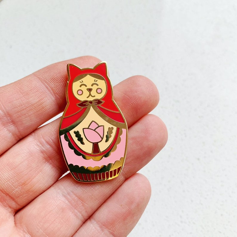 Cat Matryoshka Russian Doll Enamel Pin image 0