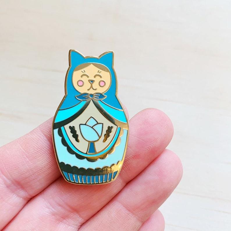 Cat Matryoshka Russian Doll Enamel Pin image 0
