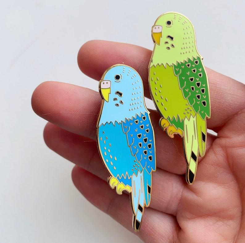 Parakeet Budgie Enamel Pin Bird image 0