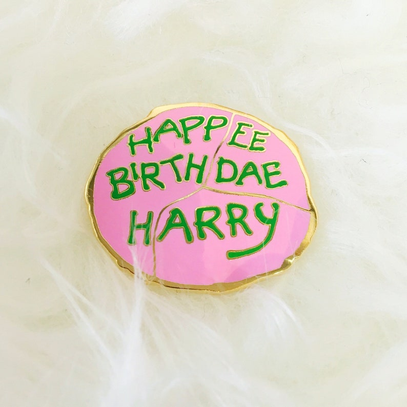 Happee Birthdae Harry Cake Enamel Pin image 0