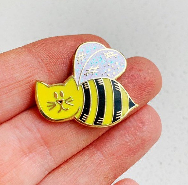 Bumble Cat Enamel Pin bee nature kitten image 0