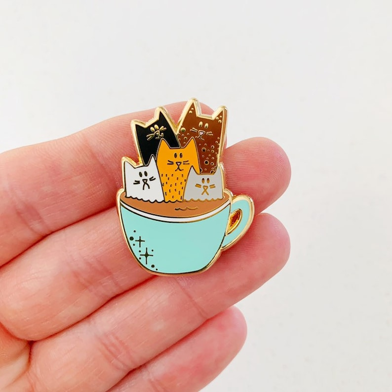 Coffee Cats Enamel Pin Badge image 0