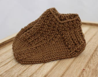 Brown Cotton Baby Booties