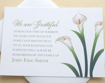 Thank You Sympathy Cards With Big Bright Water Color Flowers Etsy