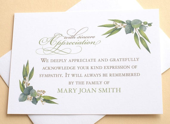 funeral thank you cards with corner borders of green leaves