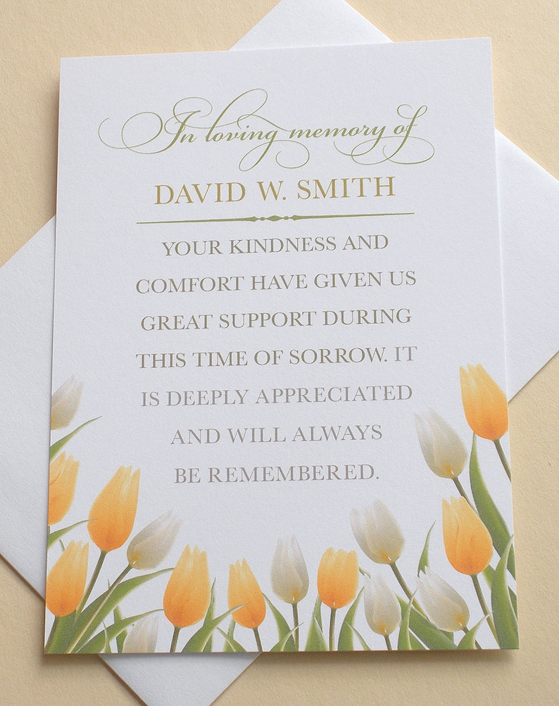 sympathy thank you cards with beautiful yellow and white