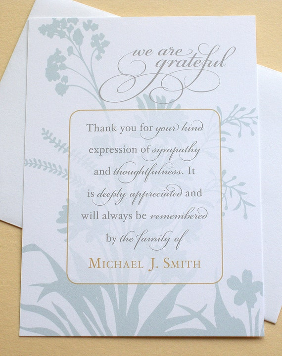 Elegant Thank You Sympathy Cards With A Blue Or China Rose Etsy