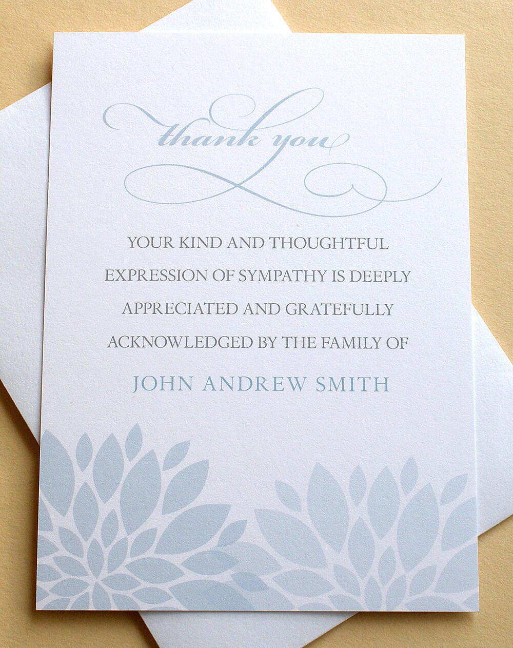 Funeral Thank You Notes With Blue Or Purple Flowers Custom Etsy