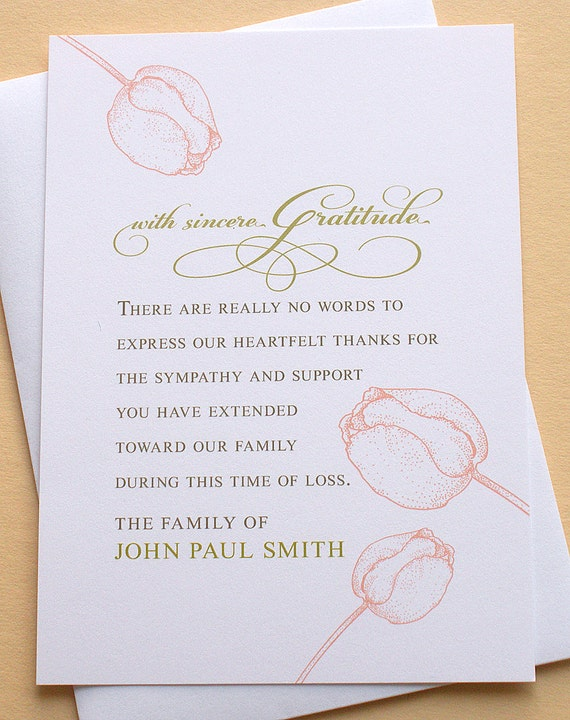 Funeral Sympathy Thank You Cards With Three Big Peach Tulips Etsy