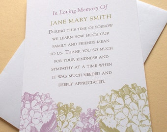 "Bereavement Thank You Cards with Purple or Peach Colored Hydrangeas - Personalized - FLAT Cards - 3-1/2"" x 4-7/8"""
