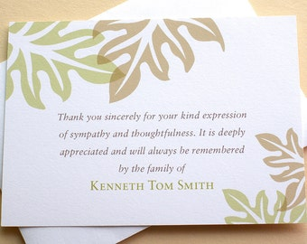 "Sympathy Thank You Cards - Brown and Green Leaves - Personalized - FLAT Cards - 4-7/8"" x 3-1/2"""