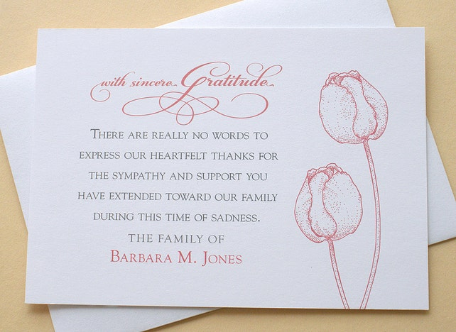 Funeral Thank You Cards with 2 Burgundy or 2 Purple Tulips | Etsy