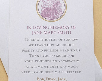 "Thank You Sympathy Cards with Purple Flowers - Personalized -  FLAT Cards - 3-1/2"" x 4-7/8"""
