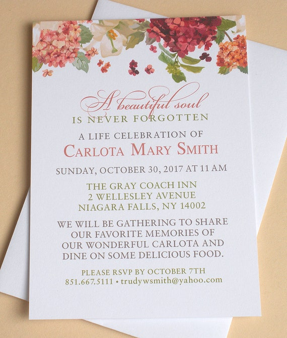 funeral memorial invitation with colorful hydrangeas custom etsy