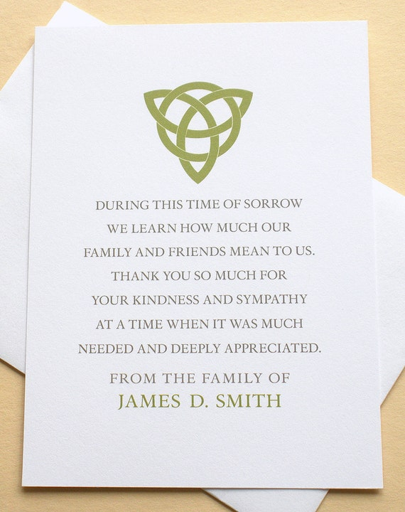 Thank You Sympathy Cards With A Green Celtic Knot Etsy