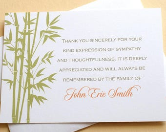 "Bamboo Personalized Sympathy Thank You Cards - Personalized -  FLAT Cards - 4-7/8"" x 3-1/2"""