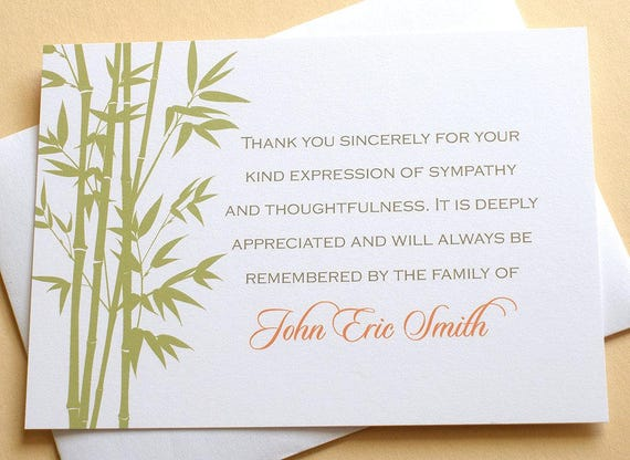 bamboo personalized sympathy thank you cards personalized