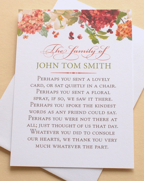 Funeral thank you cards with hydrangeas personalized etsy image 0 m4hsunfo