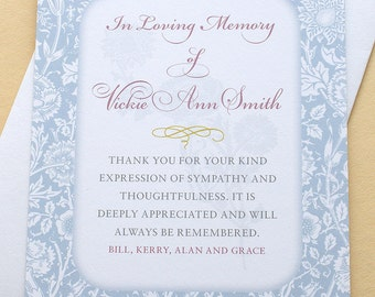 "Sympathy Thank You Cards with Blue Carnations - Personalized - FLAT Cards - 3-1/2"" x 4-7/8"""