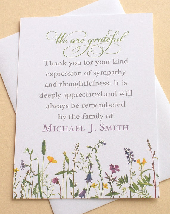 Sympathy thank you cards with pretty wild flowers etsy image 0 m4hsunfo