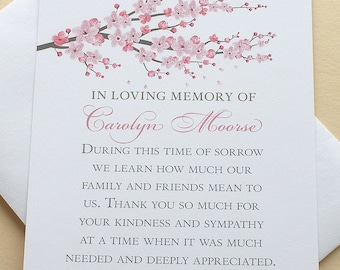 "Sympathy Thank You Cards with a Branch of Pink Blossoms - Personalized - FLAT Cards - 3-1/2"" x 4-7/8"""