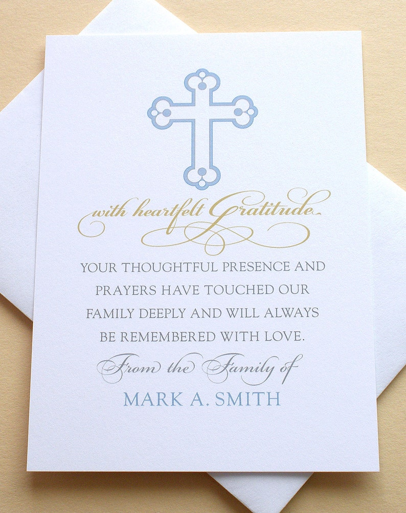 FLAT Cards 3-12\u201d x 4-78\u201d Religious Personalized Sympathy Thank You Cards  with a Cross